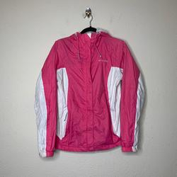 Columbia Jackets & Coats | Columbia Pink Full Zip Hooded Windbreaker Jacket | Color: Pink/White | Size: M