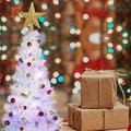URMAGIC 2 Foot Tabletop Christmas Tree Artifical, Led Light Up White Tinsel Tree Decor with Fiber Optics (with led)