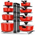 Pot and Pan Organizer Rack for Cabinet, Adjustable 8 Tiers Pans Pots Lid Organizer Rack Holder, Kitchen Cabinet Cookware Pantry Countertop Bakeware Organizer Rack Holder with 6 DIY Methods
