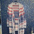 American Eagle Outfitters Sweaters | Long Grey Patterned Sweater With Pockets | Color: Blue/Gray | Size: Xl