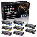 8-Pack (2BK+2C+2Y+2M) Compatible High Yield MFC-9440CN 9840CDW 9450CDN Laser Printer Cartridge Replacement for Brother TN-115 (TN-115BK TN-115C TN-115Y TN-115M) Toner Cartridge