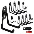 Bike Hooks for Garage, Heavy Duty Garage Hooks for Storage (10 Pack), Garden Tool Organizer with Rubber Grip for Hanging Ladder, Wheelbarrow & Folding Chair comes with Screw Driver and Storage Strap