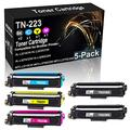 5-Pack (2BK+C+Y+M) Compatible Toner Cartridge High Yield Replacement for Brother TN-223 (TN-223BK TN-223C TN-223Y TN-223M) Laser Cartridge use for Brother MFC-L3710CW MFC-L3750CDW Printer