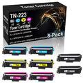 8-Pack (2BK+2C+2Y+2M) Compatible High Yield HL-L3270CDW HL-L3290CDW Laser Printer Cartridge Replacement for Brother TN-223 (TN-223BK TN-223C TN-223Y TN-223M) Toner Cartridge