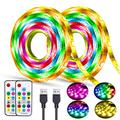 USB Led Strip Lights TV Backlights Rainbow Lights Strip 6.5FT/2M 2Pack Led Bias Lighting Multicolor Chasing Strip Lights Flexible HDTV Backgrounps Lights Behind TV Waterproof Led Tape Light Dreamcolor
