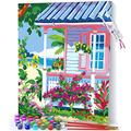 Opalberry Paint by Numbers for Adults Framed Canvas - Adults' Paint-by-Number Kits on Canvas - DIY Painting by Numbers for Adults - Paint by Numbers with Frame - Paint by Numbers Flowers on The Beach