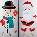 Patelai 2 Set Santa Snowman Refrigerator Magnets Cute Christmas Refrigerator Decorations Magnet Stickers for Fridge Garage Cabinets Metal Door