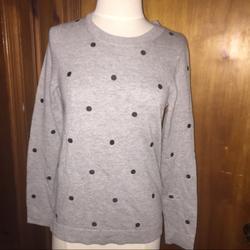 J. Crew Sweaters | J.Crew Grey Polka Dot Sweater Small Jcrew | Color: Black/Gray | Size: S