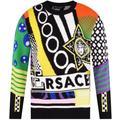 Multi-colored Patch Logo Knit Jumper - Black - Versace Knitwear