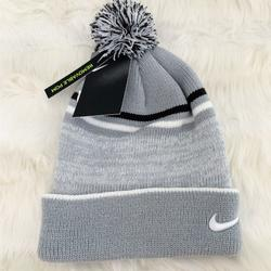 Nike Accessories | Nike Beanie Hat Cozy Winter Hat Removable Pom | Color: Gray/White | Size: Os