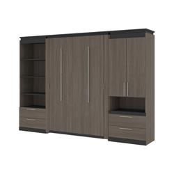 Orion 118W Full Murphy Bed and Multifunctional Storage with Drawers (119W) in bark gray & graphite - Bestar 116864-000047