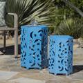 Jasmine Outdoor 12 and 14 Inch Iron Moon and Stars Side Tables, Crackle Blue