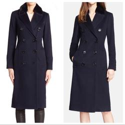 Burberry Jackets & Coats | Burberry London Cashmere Coat With Fur Collar | Color: Blue | Size: 6