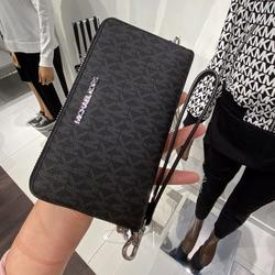 Michael Kors Bags | Mk Jst Lg Flat Zip Phone Case Wristlet Black Logo | Color: Black | Size: Os