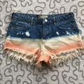 Free People Shorts | Free People High Rise Dip Dyed Distressed Shorts | Color: Blue/Pink | Size: 26