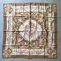 Ralph Lauren Accessories | Ralph Lauren Floral Baroque Print Silk Scarf | Color: Cream/Gold | Size: Os