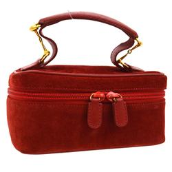 Gucci Bags   Gucci Horsebit Cosmetic Vanity Hand Bag Red Suede   Color: Red   Size: W 6.7 X H 3.1 X D 3.9