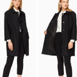 Kate Spade Jackets & Coats | Kate Spade Floral Lace Trim Coat Size 10 | Color: Black | Size: 10
