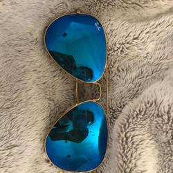 Ray-Ban Accessories   Blue With Gold Frames Ray-Bans (Case Included)   Color: Blue/Gold   Size: Os