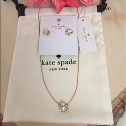 Kate Spade Jewelry | Kate Spade Lady Marmalade Studs And Necklace | Color: Gold | Size: Necklace:15