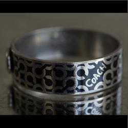 Coach Jewelry | Coach Signature Logo Bangle Bracelet Vintage | Color: Silver | Size: Os