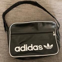 Adidas Bags | Adidas Tresfoil Spellout Logo Messenger Bag | Color: Black/White | Size: Os