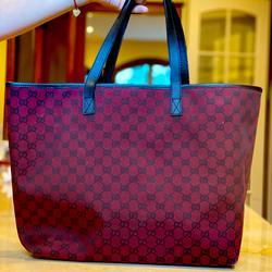 Gucci Bags | Gucci Monogram Red Canvas Large Bag 100% Authentic | Color: Black/Red | Size: Large Shoulder Bag