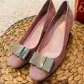 Kate Spade Shoes | Kate Spade | Ny Dijon Bow Suede Block Heel Size 5 | Color: Gold/Pink | Size: 5
