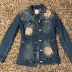 Lularoe Jackets & Coats   Lularoe Xs Denim Jean Jacket W Roses   Color: Blue   Size: Xs