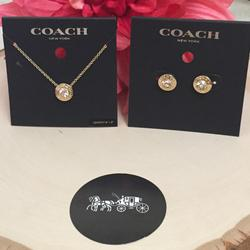 Coach Jewelry | Coach Open Circle Strand Earrings And Necklace | Color: Gold | Size: Necklace 16 + 2 L Adjustable