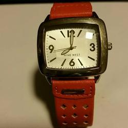 Nine West Accessories | Nine West Orange Leather Band Watch. 0 | Color: Orange/Silver | Size: Os