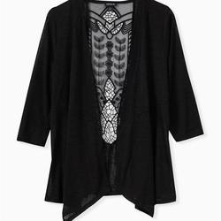 Torrid Sweaters | Plus Size Crochet Back, Drape Front Cardigan | Color: Black | Size: 14w