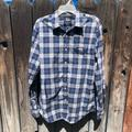 American Eagle Outfitters Shirts   Mens American Eagle Outfitters Long Plaid Shirt   Color: Blue/White   Size: L