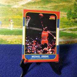 Nike Shirts   Michael Jordan Reprint 1986 Fleer Rookie Card   Color: Red   Size: L