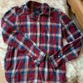 American Eagle Outfitters Tops | Plaid Cotton Long Sleeve W Snaps | Color: Blue/Red | Size: Xs