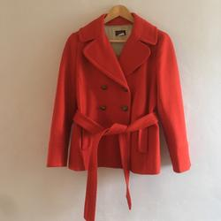 J. Crew Jackets & Coats | J. Crew 100% Wool Red Belted Pea Coat Petite | Color: Red | Size: 10p