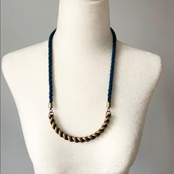 Madewell Jewelry | Madewell Marine Collar Rope & Bronze Tone Necklace | Color: Blue/Gold | Size: Os