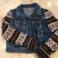 Free People Jackets & Coats   Free People Distressed Denim Jacket   Color: Blue/Green   Size: S