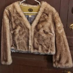 Anthropologie Jackets & Coats | Anthropologie Gorgeous Faux Fur Cropped Jacket 12 | Color: Cream/Tan | Size: 12