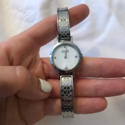 Coach Accessories   Coach Stainless Steel Diamond Etched Watch   Color: Silver   Size: Os