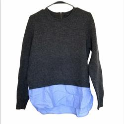 J. Crew Sweaters   J. Crew Wool Gray & Blue Layered Effect Sweater   Color: Blue/Gray   Size: M