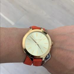 Michael Kors Accessories | Michael Kors Women'S Slim Double Wrap Orange Watch | Color: Gold/Orange | Size: Os