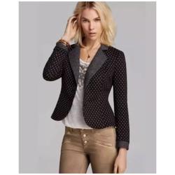 Free People Jackets & Coats | Free People Diamond Knit Blazer Tweed Trim Black | Color: Black | Size: S