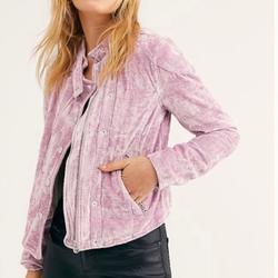 Free People Jackets & Coats | Free People Dusk Till Dawn Velvet Jacket | Color: Pink | Size: L