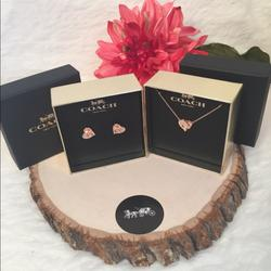 Coach Jewelry | Coach Signature Set Earrings And Necklace | Color: Gold | Size: Necklace : Ajustable 16 To 18 L
