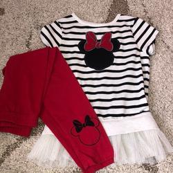 Disney Matching Sets   Little Girls Minnie Mouse Set Size 6   Color: Black/White   Size: 6g