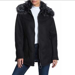Jessica Simpson Jackets & Coats   Faux Fur Trimmed Suede Jacket- Used (Like New)..   Color: Black   Size: M
