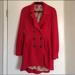 Free People Jackets & Coats | Free People Red Coat Pea Coat | Color: Red | Size: 8