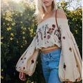 Free People Tops | Free People Womens Sachs Smocked Top | Size S | Color: Cream/White | Size: S