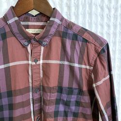Burberry Shirts   Burberry Check Cotton Poplin Shirt   Color: Purple   Size: M